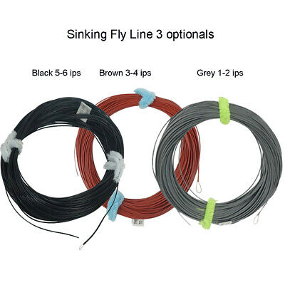WF 4/5/6/7/8S WT85 Full Sinking Black / Brown Fly Fishing Line With Exposed Loop