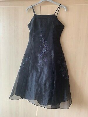 Stunning Girls Black Organza Sequin Party Dress Size Age 8-9Yrs  1/2 Avail Twins