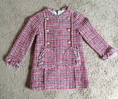 Pili Carrera Girls red & blue tweed dress with buttons 4y Made in Spain (lining)
