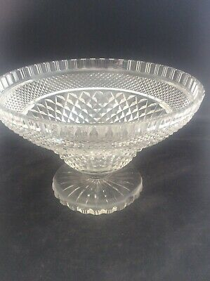 Antique Georgian c1820 Anglo Irish Crystal Cut Glass Footed Compote Fruit Bowl