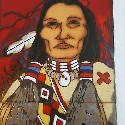 Cleo Teissedre Hand Painted Ceramic Tile Southwestern Double Tile Red