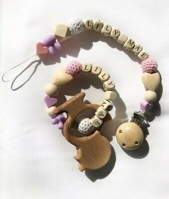 Dummy Clip And Teether, Personalise With Babies Name! Baby Gift/christening Gift