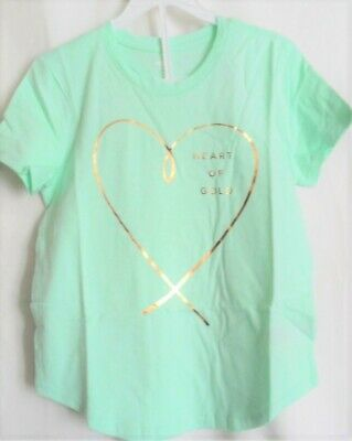Girls Mint Green Large Heart Of Gold S/S Curved Hem Shirt Nwt ~Old Navy