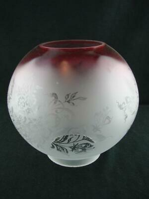 Stunning Antique Repro Etched Glass Globe Oil Lamp Shade, Deep Cranberry Rim