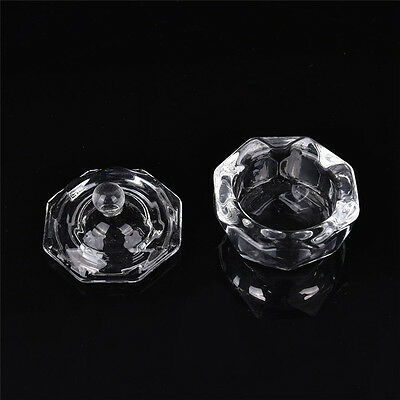 Crystal Glass Dappen Dish with Lid Bowl Cup Nail Art Craft Salon School ToolP~OU