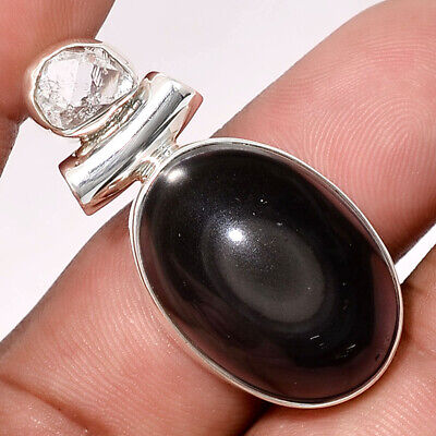 Obsidian Eye and Herkimer Diamond 925 Sterling Silver Pendant Jewelry SDP43619