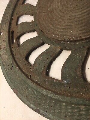 "Antique Large Cast Iron 15.5"" Victorian Cold Air Return Floor Grate Register"