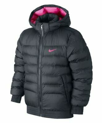 Nike Synthetic Fill Puffa Jacket Size Xl (158-170Cm) Black / Pink Girls