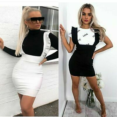 Womens Ladies Pinafore Strap Frill Ruffle Party Bodycon Mini Dress UK 8-14