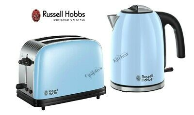 Russell Hobbs Colours Kettle and Toaster Set Blue Kettle & 2 Slot Toaster - New