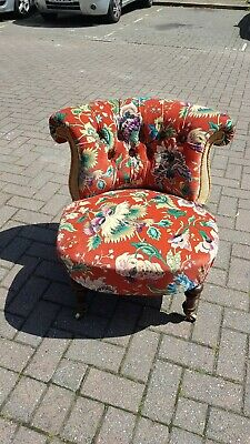 Antique Victorian Tub Cocktail Chair Fully Reupholstered In House Of Hackney...