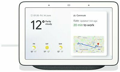 "Google Nest Home Hub Smart Voice Assistant with 7"" Touch Screen - Charcoal."