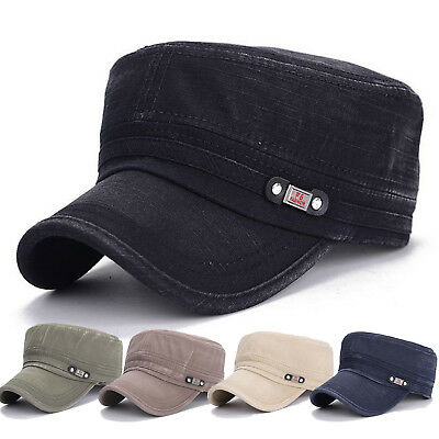 Mens Women Classic Army Cap Military Trucker Peaked Urban Outdoor Hat Adjustable