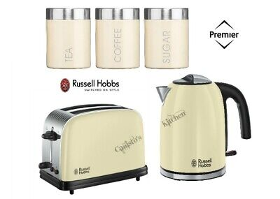 Cream Russell Hobbs Colours Plus Kettle and Toaster Set With Canisters - New
