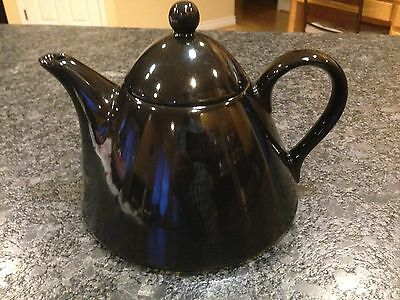 Rare Vintage PAGNOSSIN TREVISO GLOSSY BLACK TEAPOT 6 cup Made in Italy