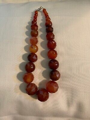 Vintage Chinese Art Deco Carved Carnelian Large Bead Necklace. 253 Grams 18 Inch