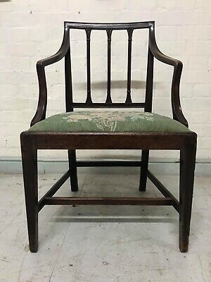Antique Georgian Hepplewhite Style Mahogany Open Elbow Chair Carver Armchair