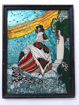 """1920 Framed Art Deco Reverse Painted Foil Painting Fashionable Lady 17"""""""