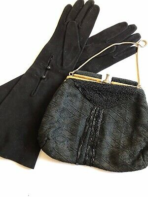Vintage Gloves Black Sz 7.5 Faux Velvet Matching Clutch Formal Graduation Accs