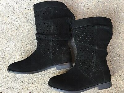 TOMS Women's Girls black suede high ankle boots comfy Size 6