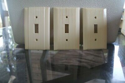 3 Vintage Bakelite Ivory Ribbed Art Decor Single Toggle Light Switch Plate Cover