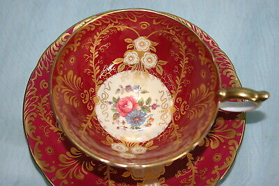 Gorgeous Vint Aynsley bone china cup saucer set-Royalty- Maroon/Beige/Floral