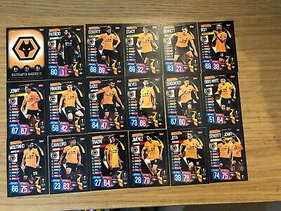 Match Attax 2019/20 Wolverhampton Wanderers Full Team Set Of All 18 Cards Mint
