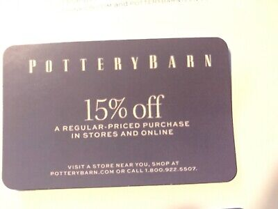 POTTERY BARN pb .com 15% off COUPON Card 15 percent Store Online EXP 2/29/20