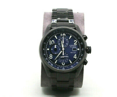 Citizen Eco Drive CA0365-54L Men's Chronograph Black Ion-Plated Watch Blue Dial.
