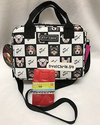 Betsey Johnson Yorkie Terrier bull Dog Insulated Lunch Tote Bag W/ ice pack New!