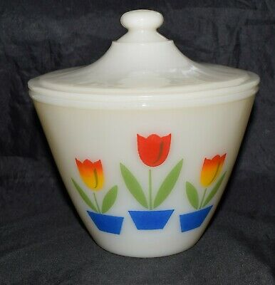 Vintage Fire King Tulips Ivory Grease Jar with Lid