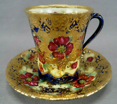 Nippon Hand Painted Red Poppies Cobalt & Heavy Gold Moriage Chocolate Cup