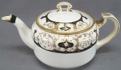 Nippon Hand Painted Black & Gold Scrollwork Moriage Tea Pot Circa 1911 - 1921