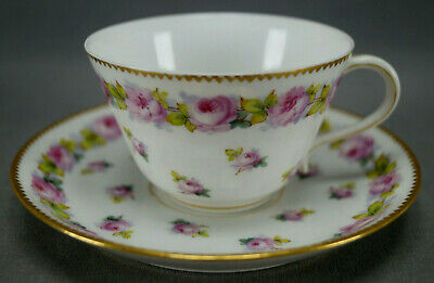 Pair of Le Rosey Paris Hand Painted Pink Rose & Gold Tea Cups & Saucers 1880-90