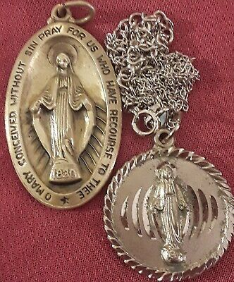 STERLING SILVER LOT:LRG16G Virgin Mary Miraculous Medal Lady Charm Pendant0scrap