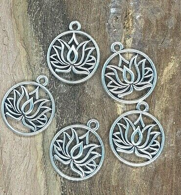 Lotus Charms Silver Tone 23mm x 19mm 10 pieces