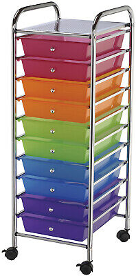 "Storage Cart W/10 Drawers-13""X38""X15.5"" Multicolor"