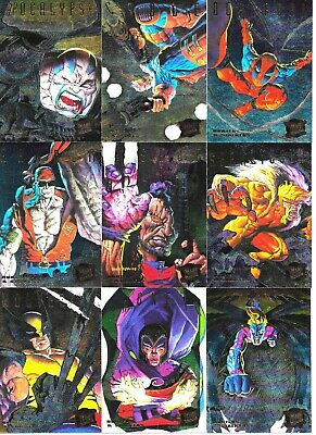 1995 Fleer Ultra X-Men Hunters/Stalkers Complete PowerBlast Set 1-9 of 9 Rainbow