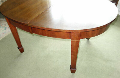 Good Quality Inlaid Oval Antique Mahogany Windout Table with Leaf and Winder