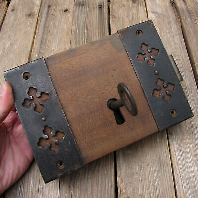 Antique Oak And Iron Door Lock with WORKING KEY