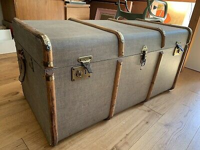 Large Antique Banded Vintage Travel Steamer Trunk Case Fabric Covered Box Table