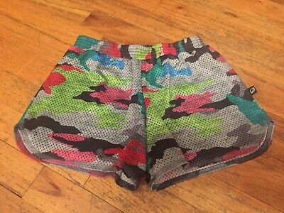 Terez Girls Size Large (12) Adorable Multi Color Camo Mesh Shorts With Built In