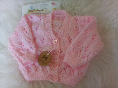 Hand Knitted Pink Cardigan- size 0-3 months