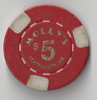 $5 Colorado Molly's Central City 1St Edt Casino Chip 3 White Inlays Closed !