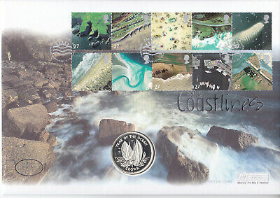 Gb Coastlines 2002 Pnc Coin Cover 1998 Isle Of Man Year Ocean 925 Silver Crown