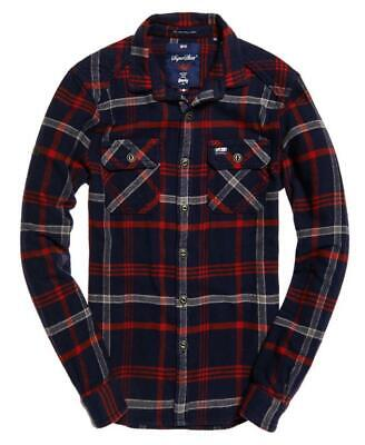Superdry Mens Milled Flannel Shirt Niagra Navy Check Size L RRP £49.99 New