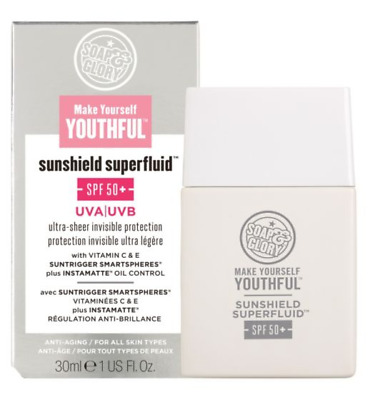 SOAP & GLORY Make Yourself Youthful Sunshield Superfluid SPF50+ 30ml - NEW Boxed