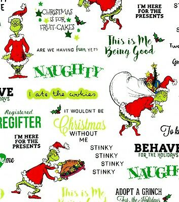 Christmas The Grinch Who Stole Cotton Fabric Dr Seuss Robert Kaufman By The Yard