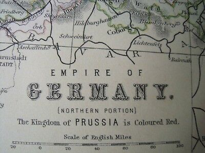 Empire of GERMANY c.1880s color MAP by William Mackenzie