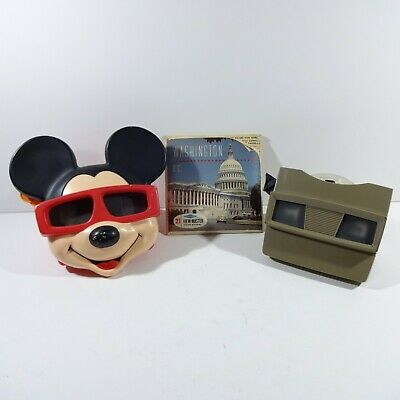 Vintage Disney Mickey Mouse 3D View-Master and Sawyers View-Master with 7 Slides